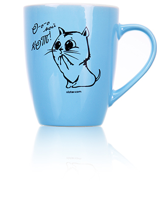 Кружка голубая «Кот»