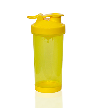 Yellow shaker with flip lid, 400 ml