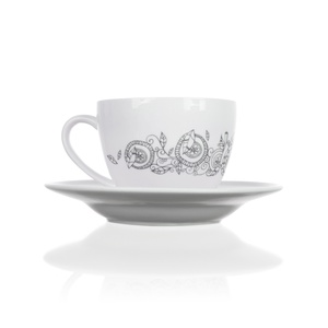 Tea cup and saucer set with a pattern